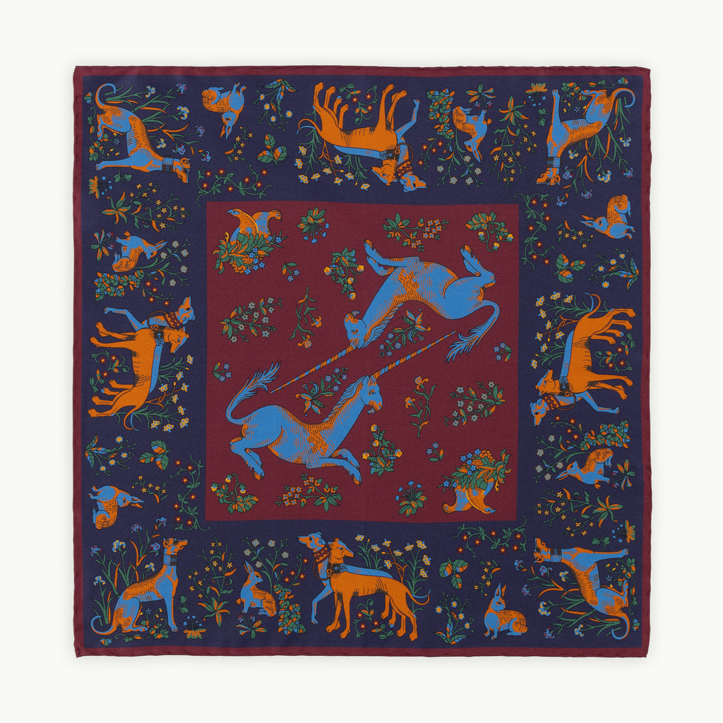 Burgundy Unicorn Ancient Madder Silk Pocket Square