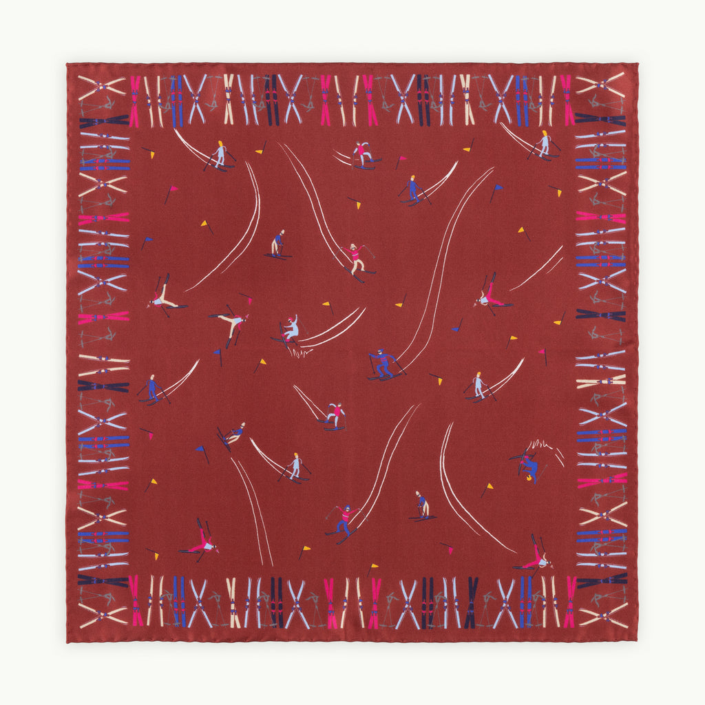 Burgundy Skier Print Silk Pocket Square
