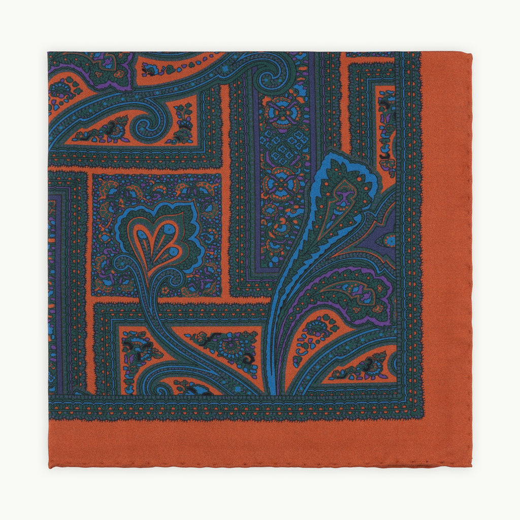Rust Paisley Ancient Madder Silk Pocket Square