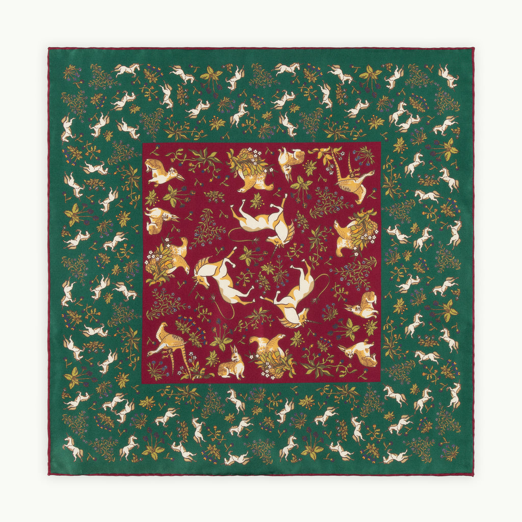 Green & Burgundy Unicorn Silk Pocket Square