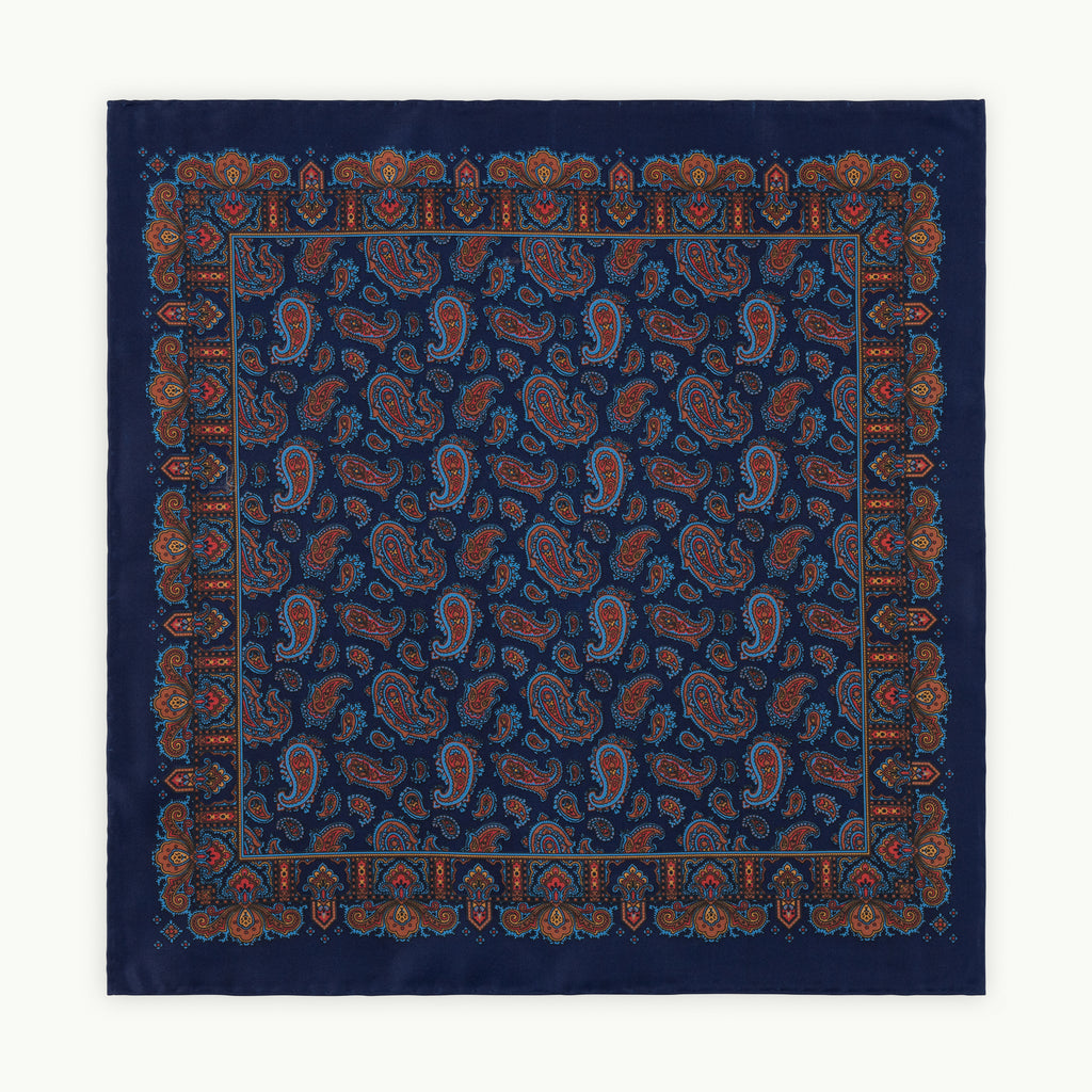Navy Paisley Ancient Madder Silk Pocket Square