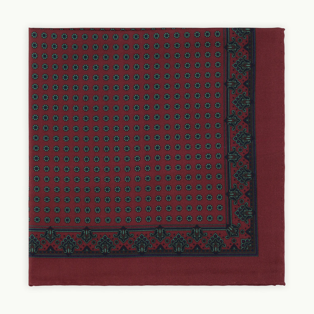Burgundy Neat Ancient Madder Silk Pocket Square