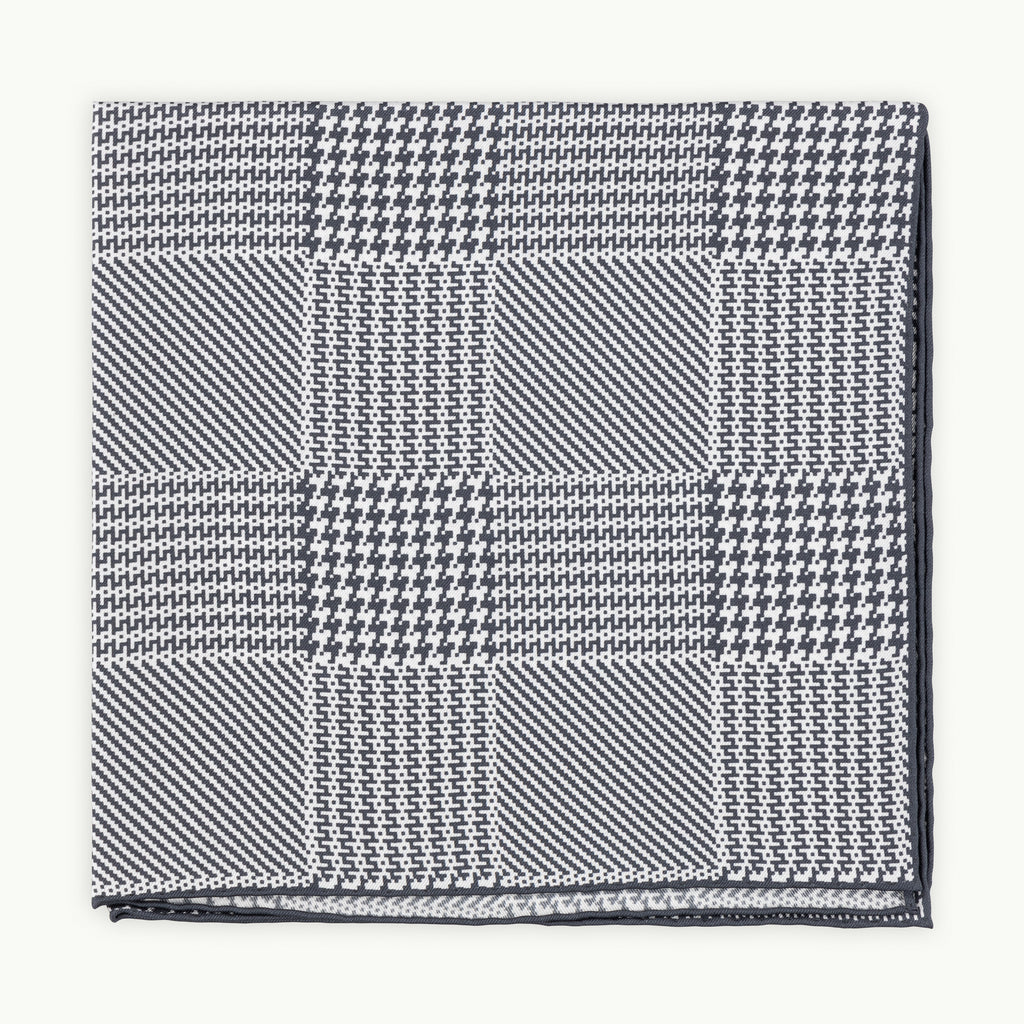 Grey Prince of Wales Silk Pocket Square