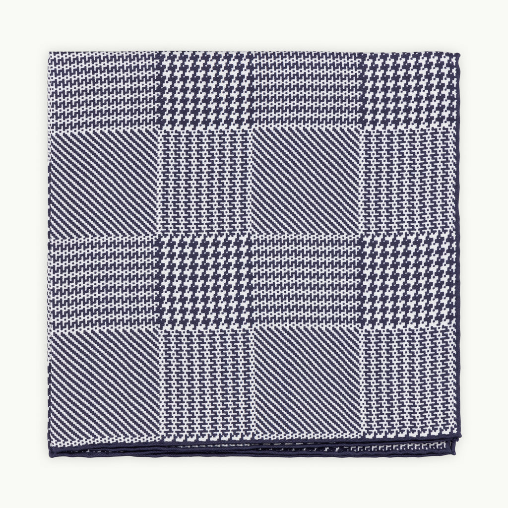 Navy Prince of Wales Silk Pocket Square