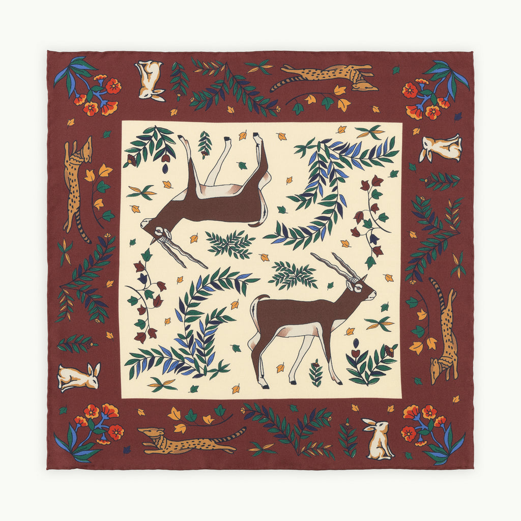 Burgundy & Cream Antelope Silk Pocket Square