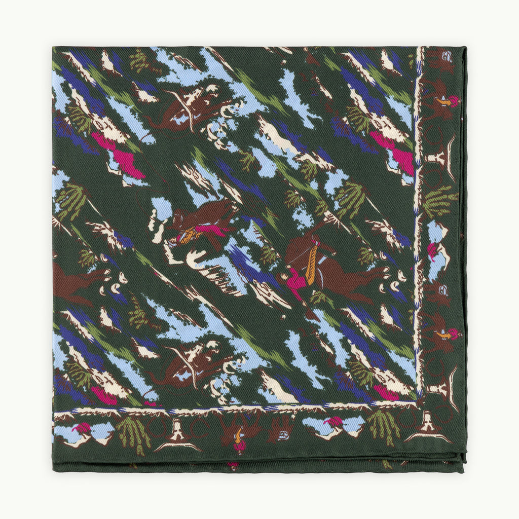 Olive Cowboy Print Silk Pocket Square