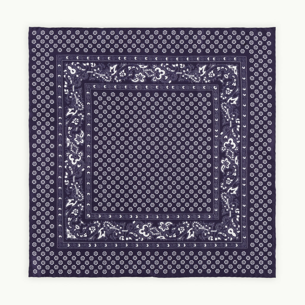Navy Paisley Flower Silk Pocket Square