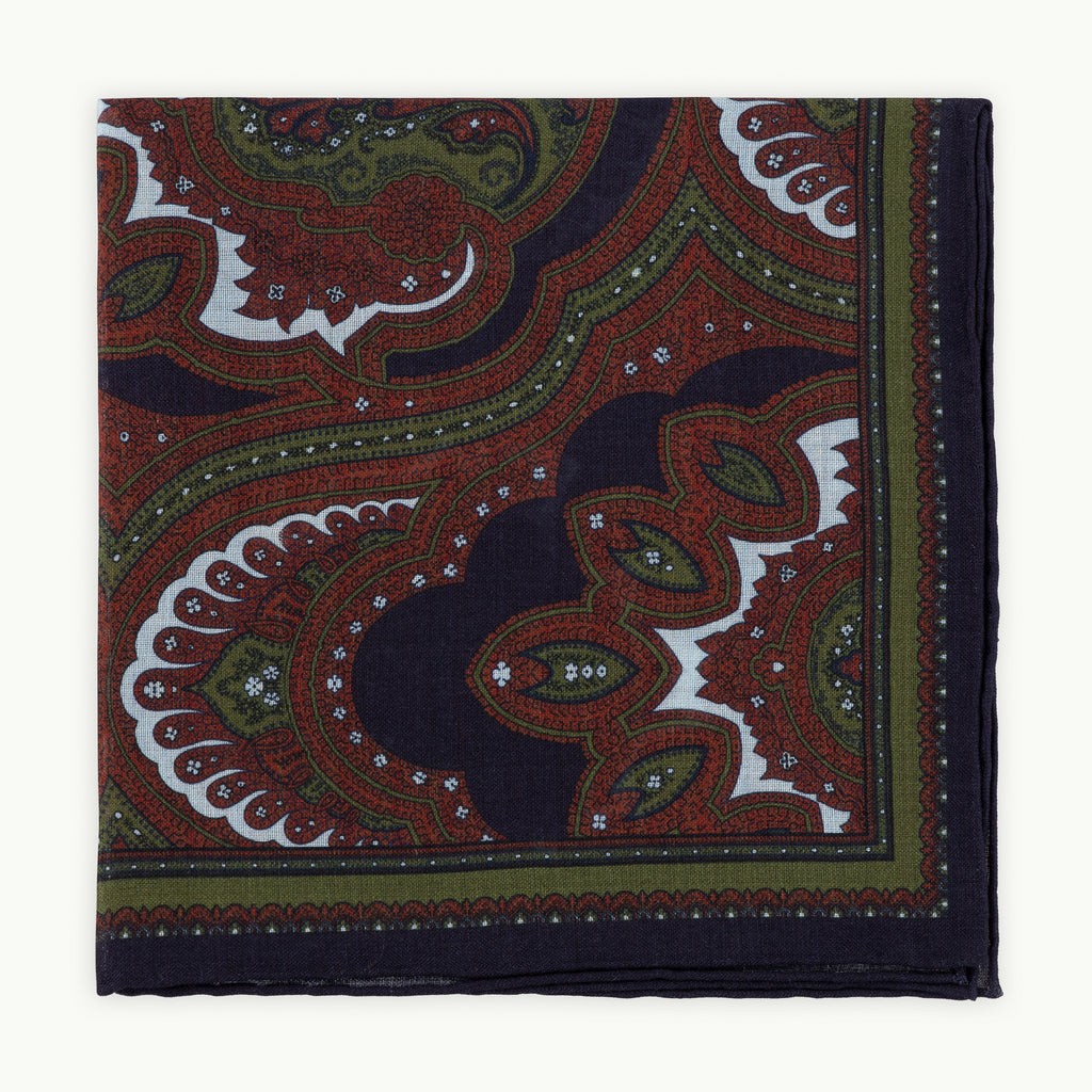 Navy paisley print pocket square