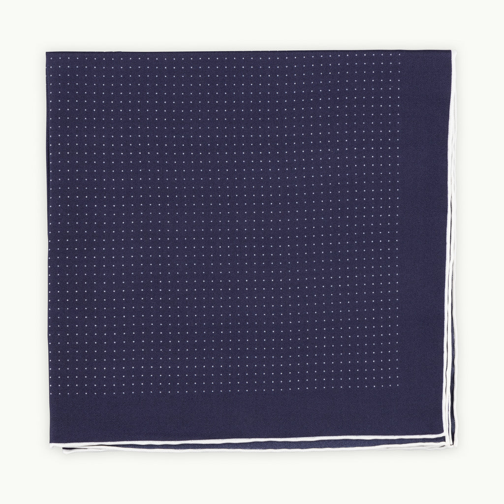 Navy Spot Shoestring Silk Pocket Square