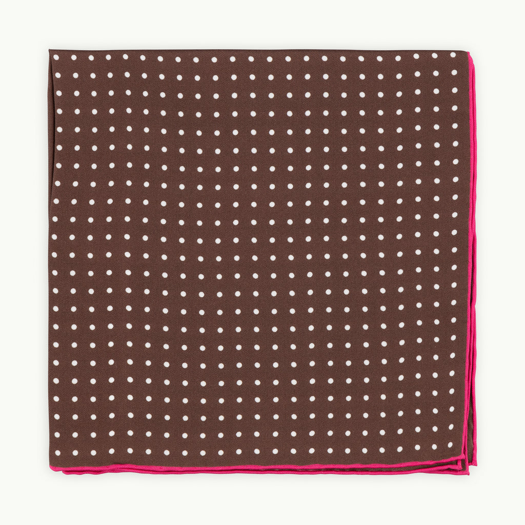 Brown Pink Shoestring Pocket Square