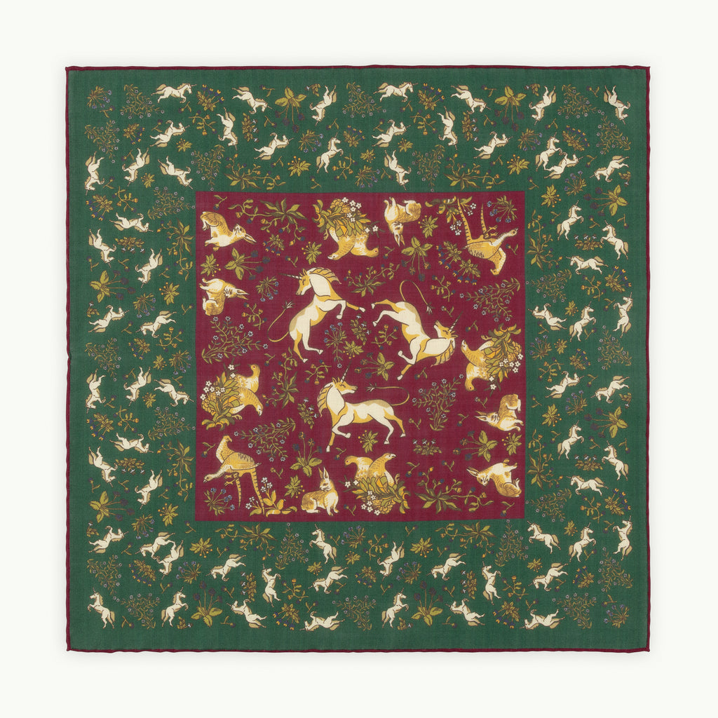 Green & Fuchsia Unicorn Print Pocket Square