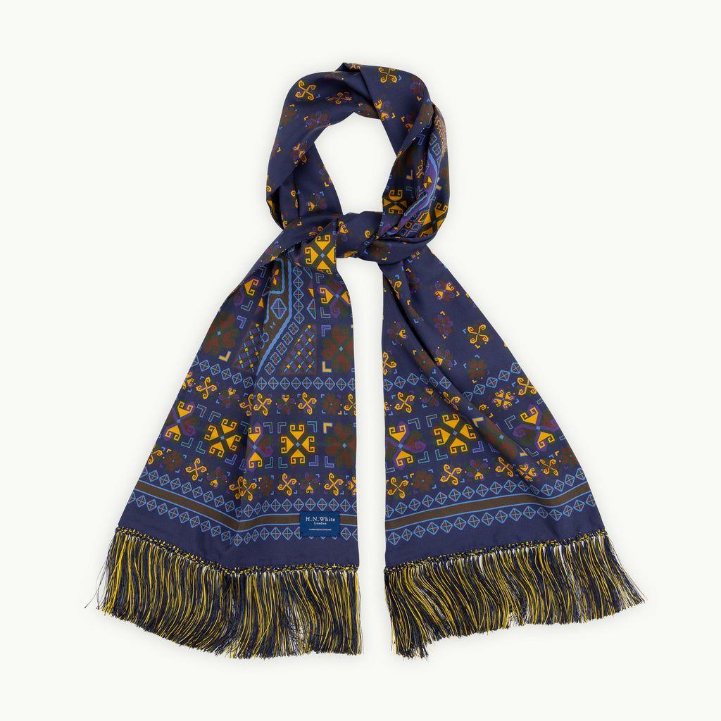 Navy Aztec Scarf with Hand Knotted Tassels
