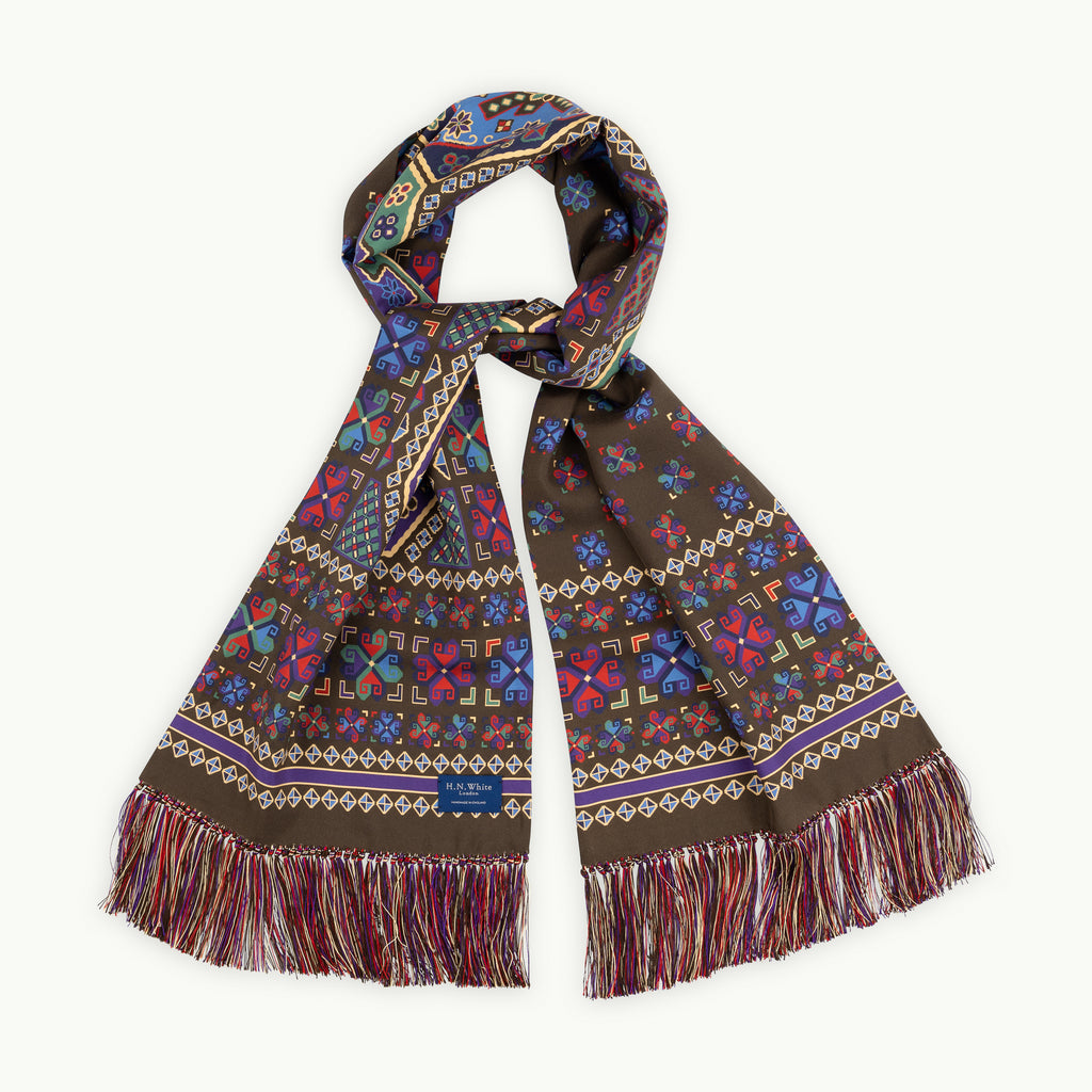 Sable Aztec Scarf with Hand Knotted Tassels
