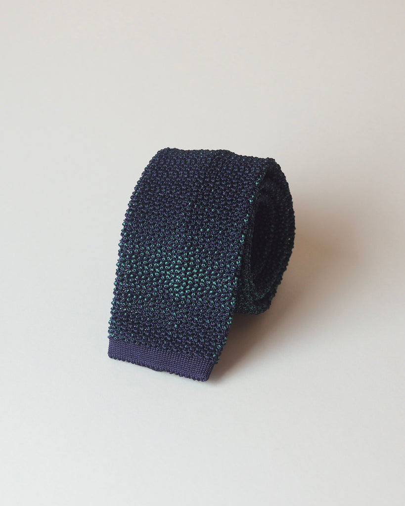 Navy & green two-tone knitted tie