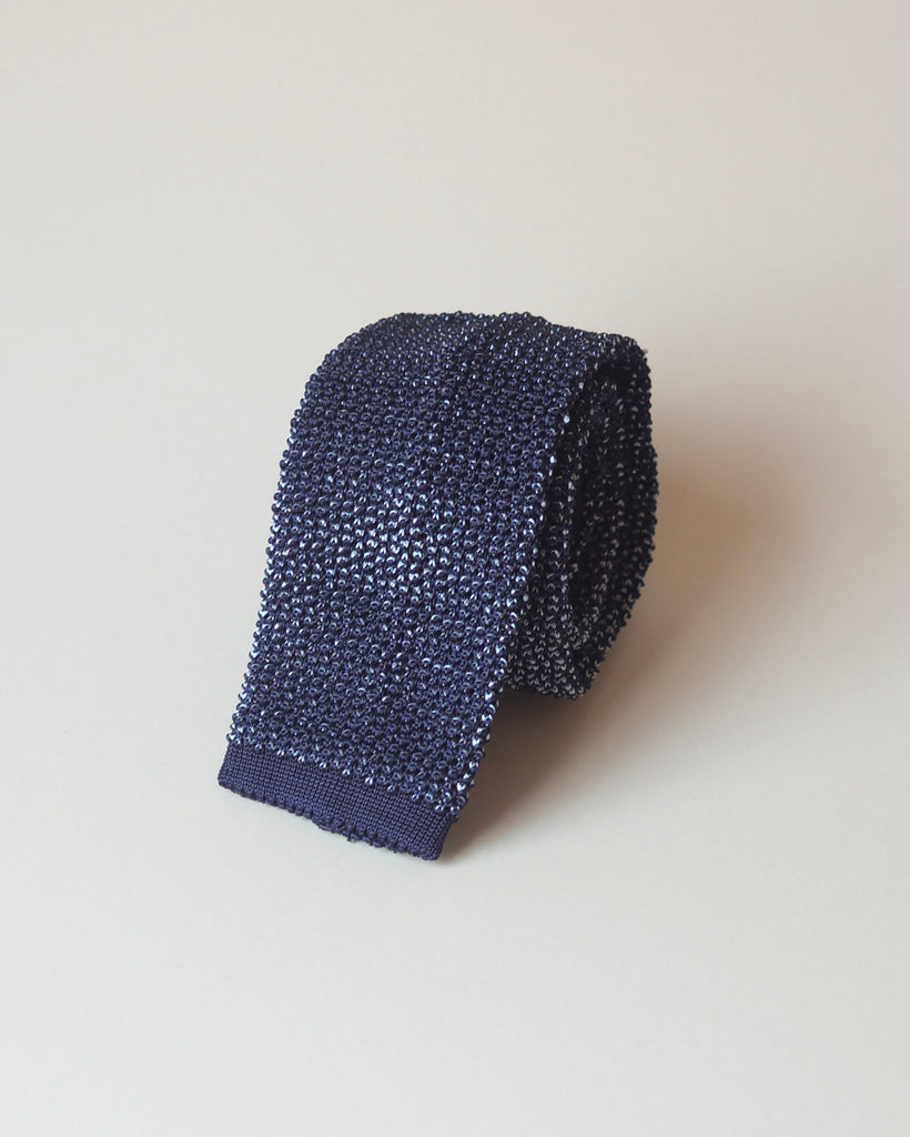 Navy & silver two-tone knitted tie