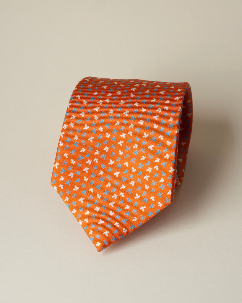 Orange Floral 7-Fold Silk Print Tie