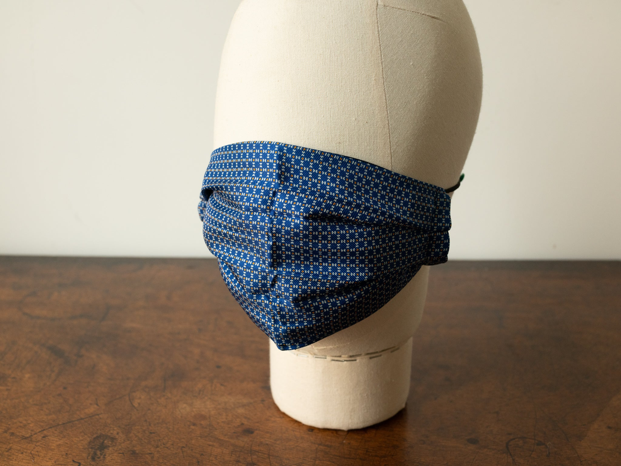 Royal Blue & Silver Silk Face Mask