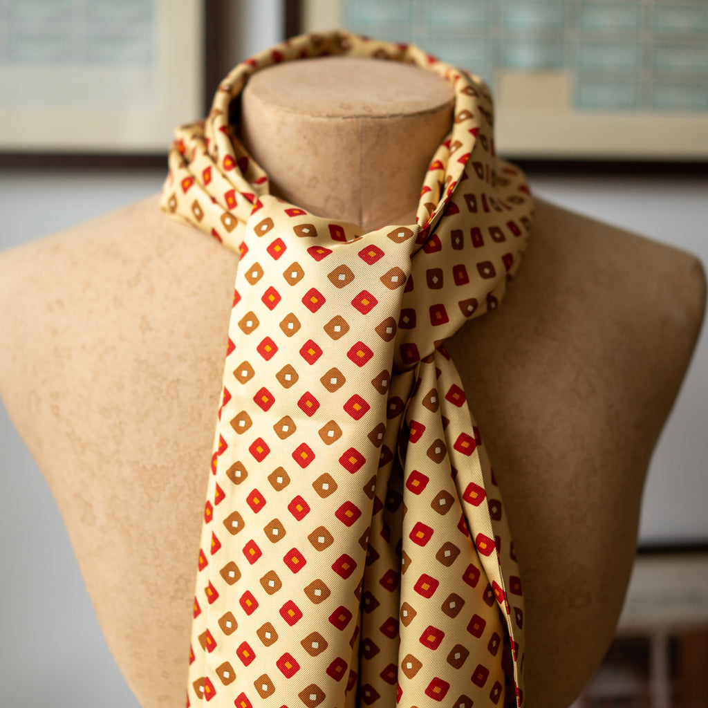 Buff, Red & Gold Print Silk Scarf