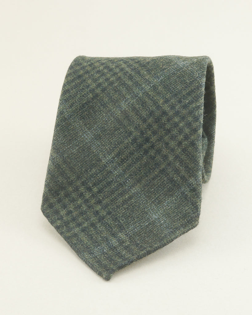 Olive green Prince of Wales Fox Flannel tie