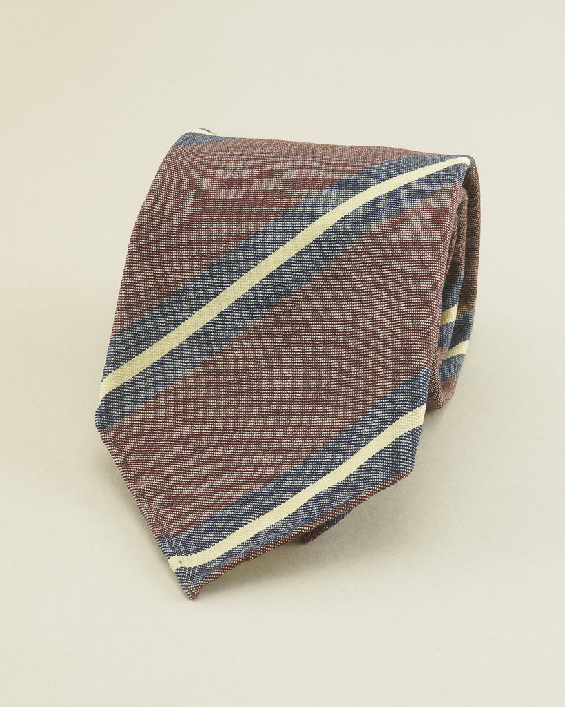 Burgundy & cream boating stripe Fox Flannel tie
