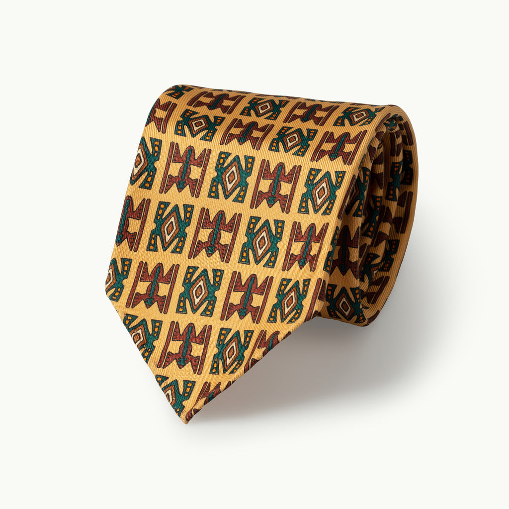 Buff Egyptian Motif Print Tie