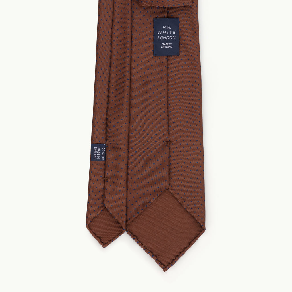 50oz Brown and Navy Spot Silk Print Tie