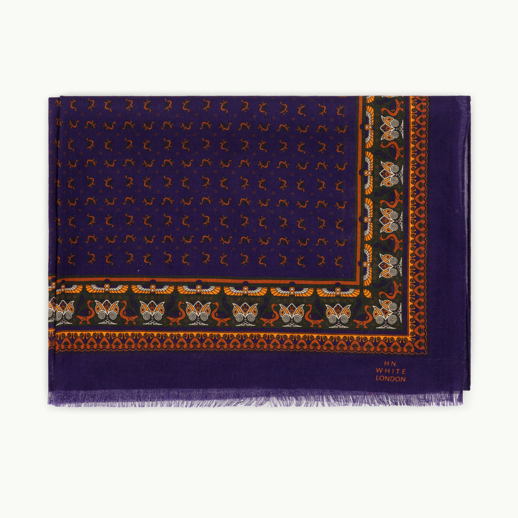 Purple Egyptian Print Wool/Silk Scarf