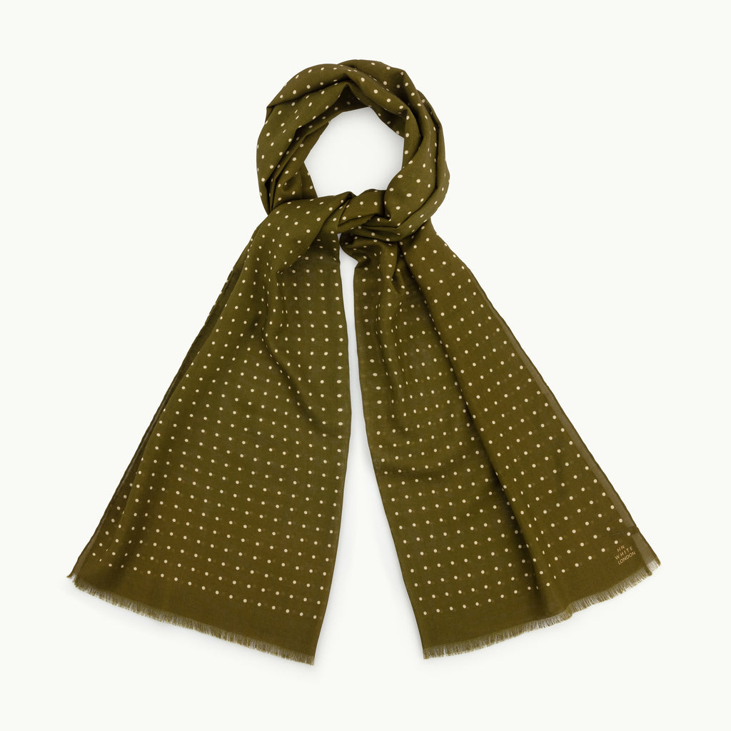 Olive and Ecru Spot Wool/Silk Scarf