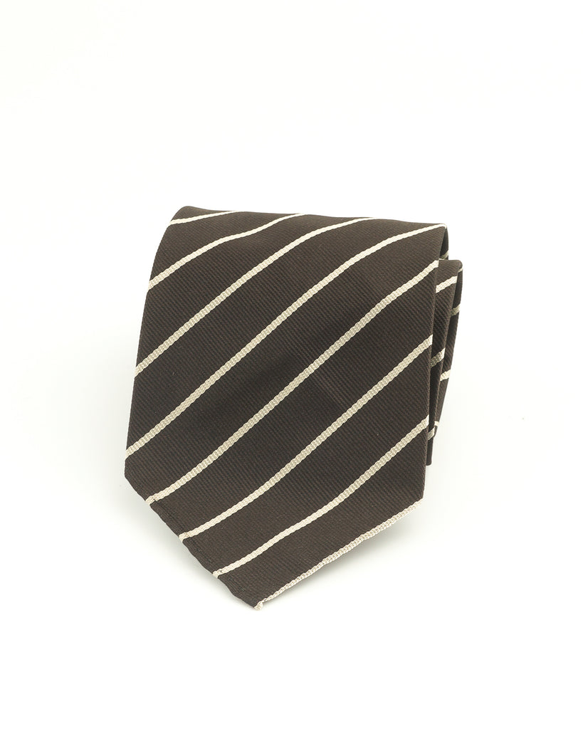 Dark brown & ivory woven stripe tie