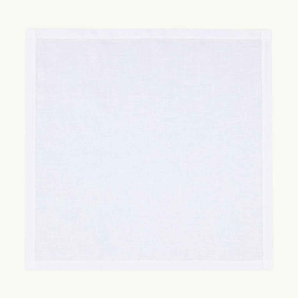 Punched Hem White Linen Handkerchief