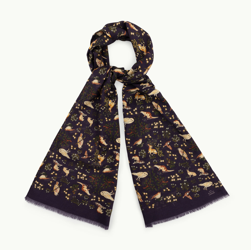 Navy Blue Woodland Print Wool/Silk Scarf