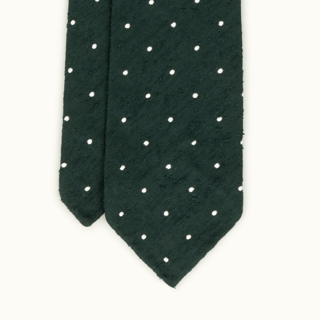 Dark Green Spot Shantung Silk Tie