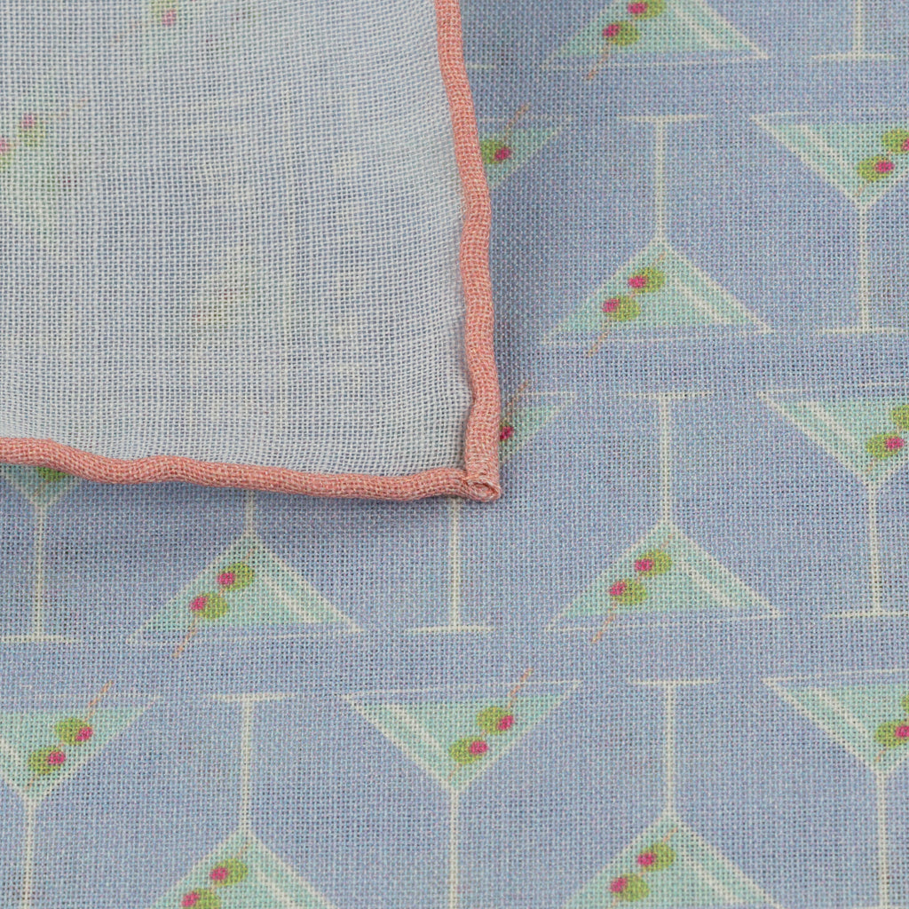 Sky & Pink Martini Pocket Square