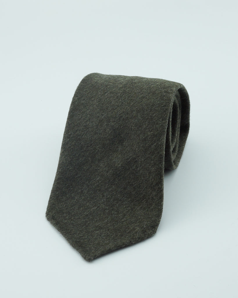 Green herringbone flannel wool tie