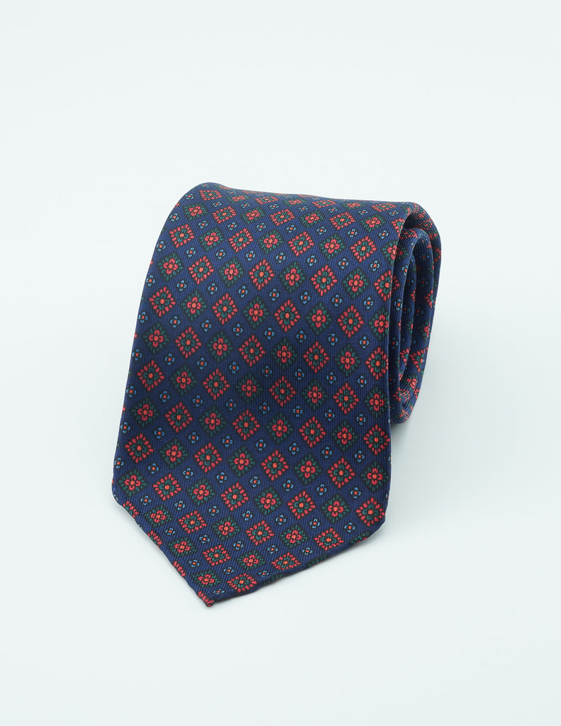 Navy diamond hand rolled madder tie