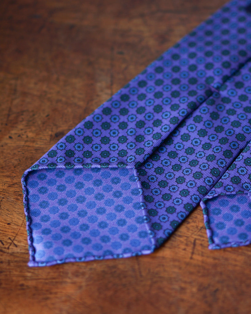 Purple floret hand rolled madder tie