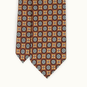Ochre & Red Medallion Heritage Madder Silk Tie