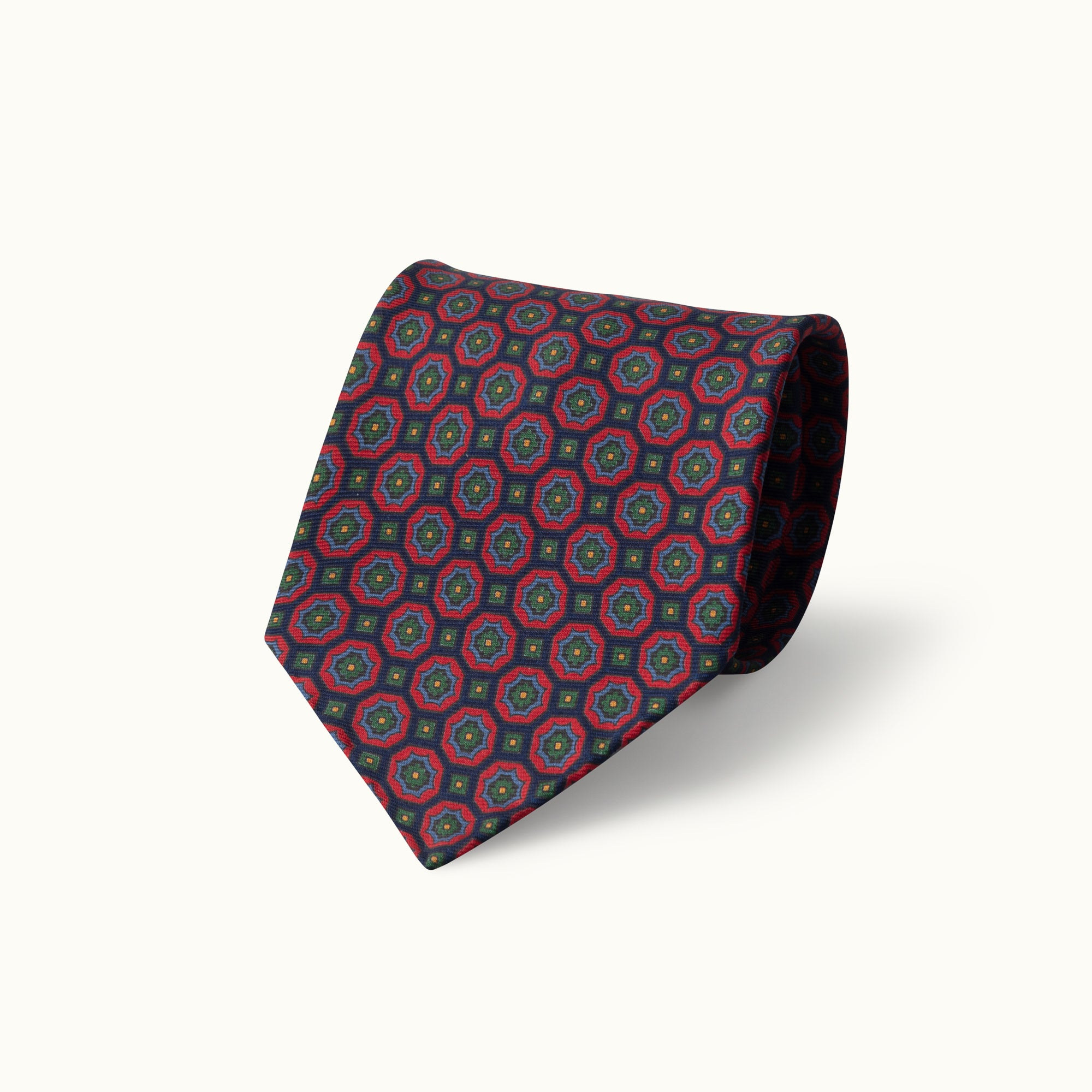 Blue & Red Medallion Heritage Madder Silk Tie