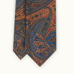 Gold, Red & Blue Paisley Heritage Madder Silk Tie
