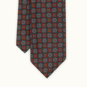 Red & Green Medallion Heritage Madder Silk Tie