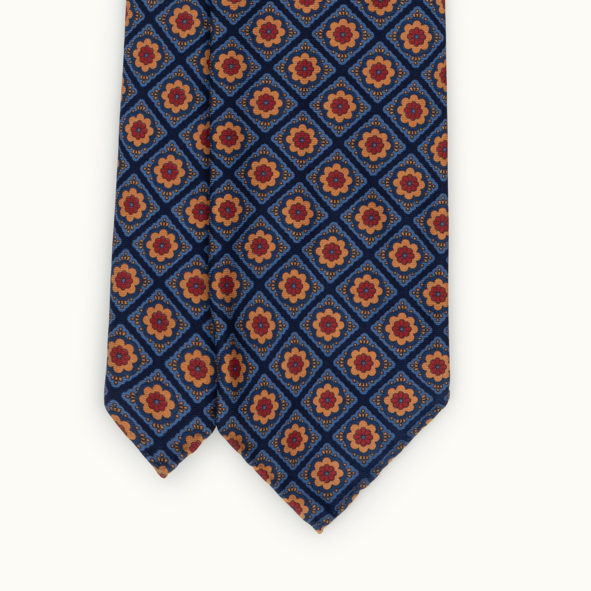 Blue & Orange Medallion Heritage Madder Silk Tie