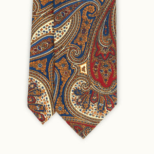 Buff, Red & Blue Paisley Heritage Madder Silk Tie