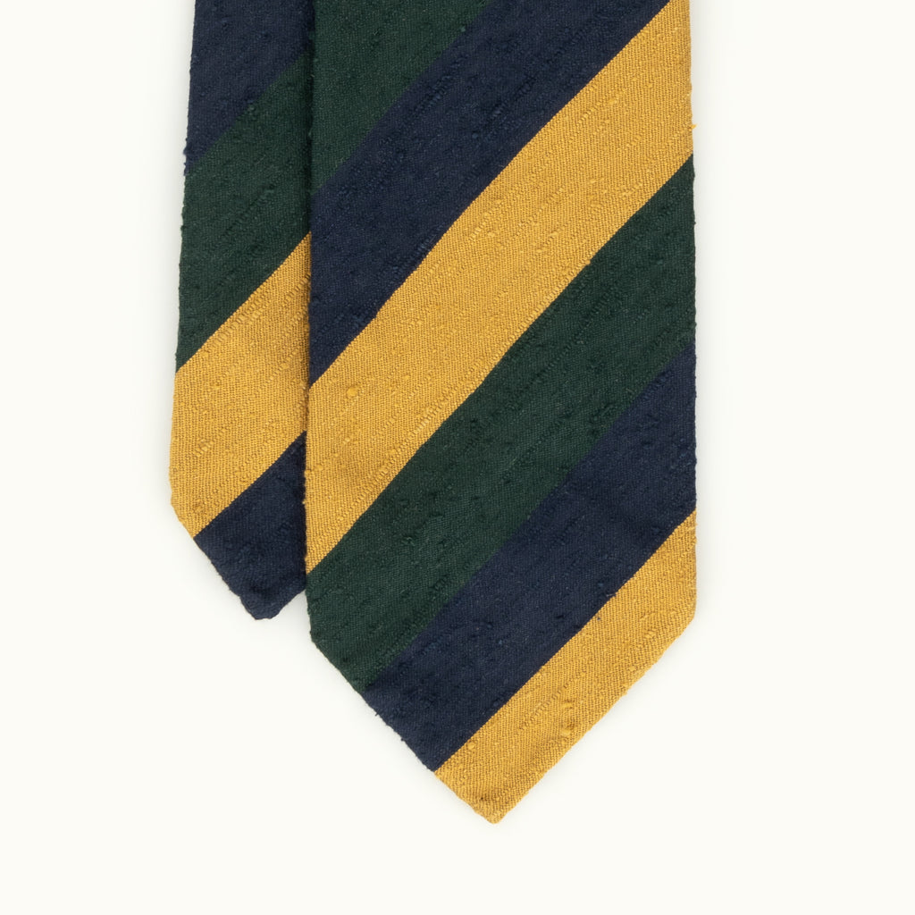 Gold, Green & Navy Block Stripe Shantung Silk Tie