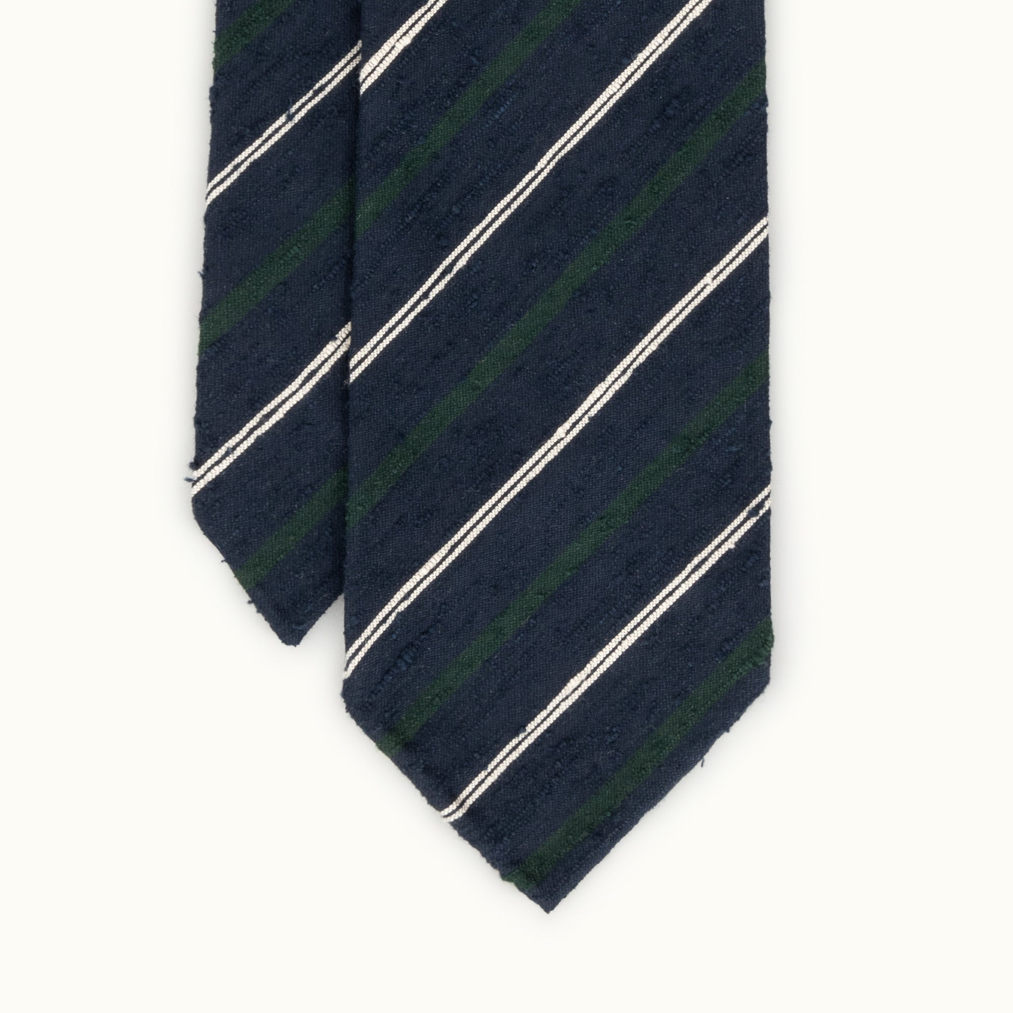 Navy, Green & White Fine Stripe Shantung Silk Tie