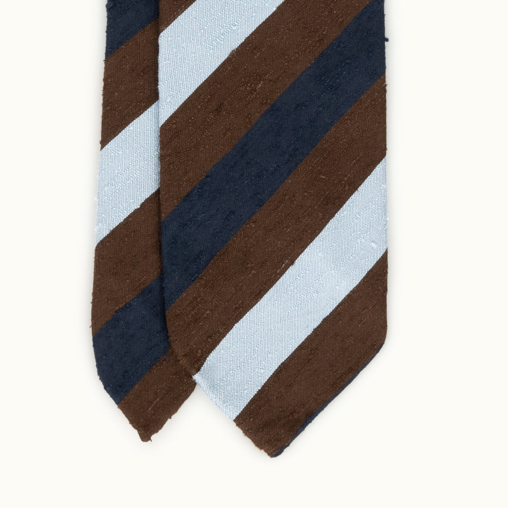 Navy, Brown & Sky Block Stripe Shantung Silk Tie