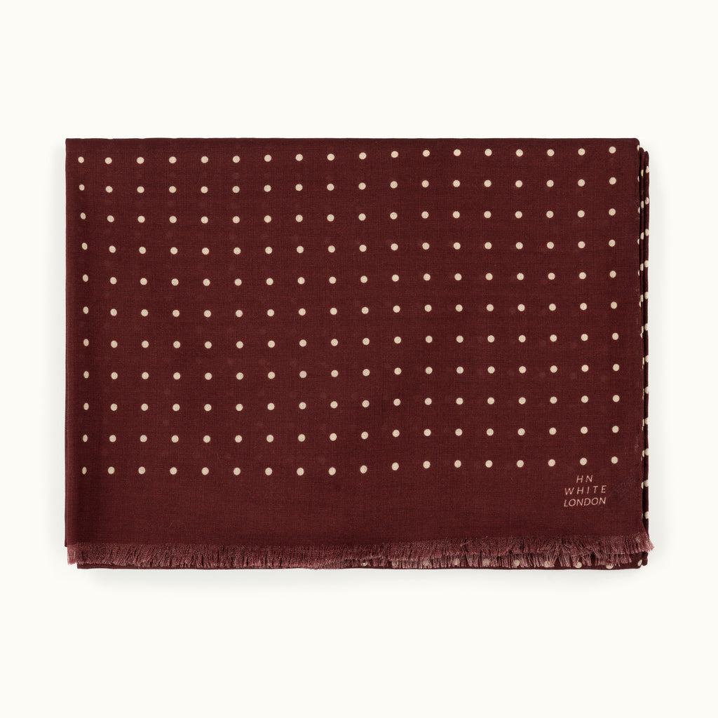 Burgundy and Ecru Spot Wool/Silk Scarf