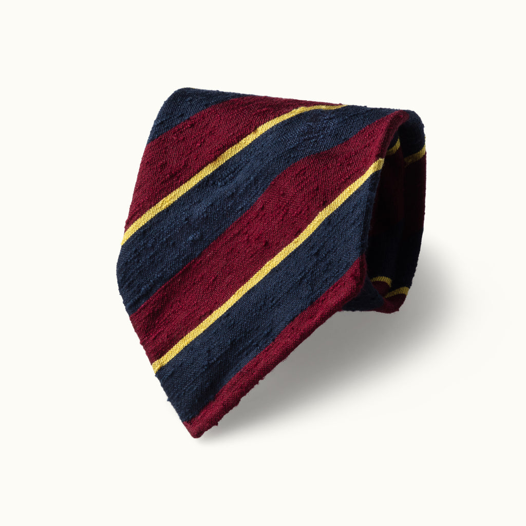 Burgundy, Navy & Gold Stripe Shantung Silk Tie