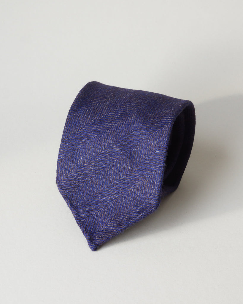 Purple herringbone wool tie