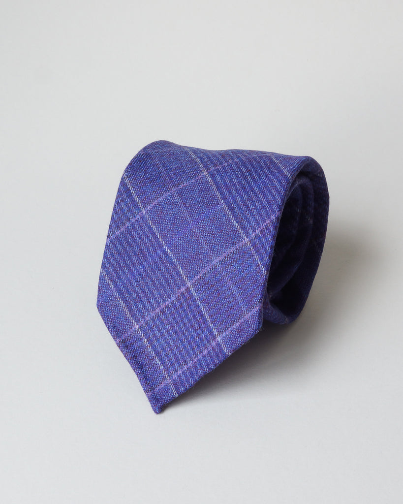 Purple check wool tie