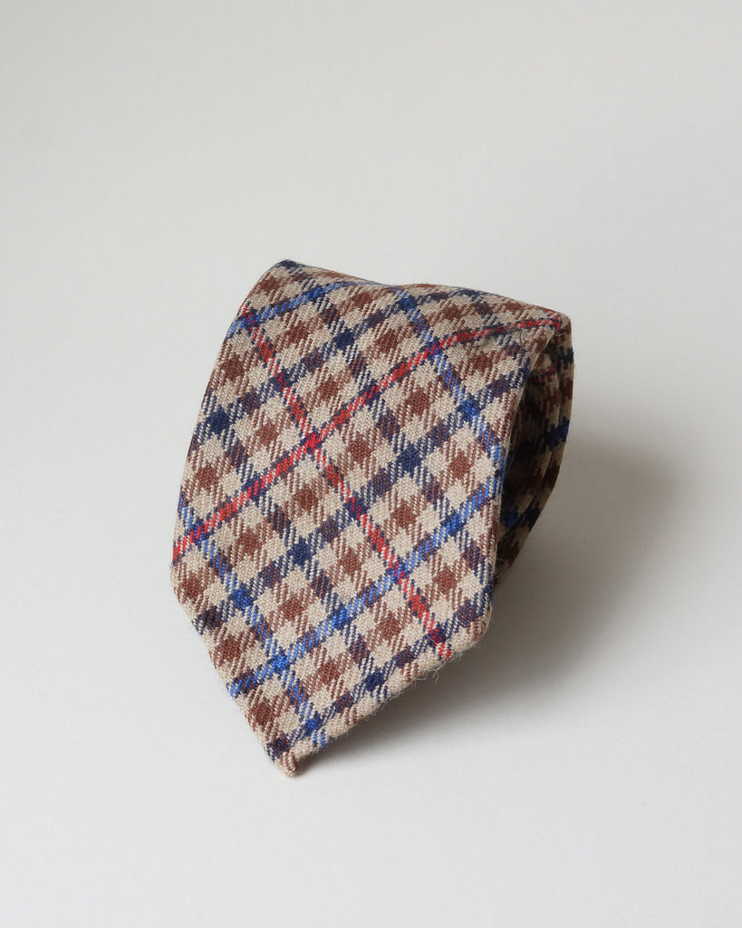 Tan, blue & red gun club wool tie